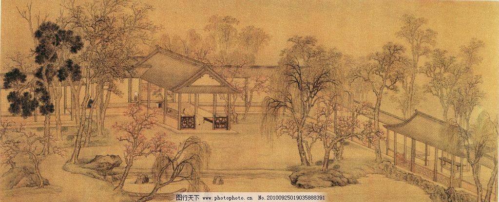 国画 国画艺术 中国风 文化画 中国画 柳树 桃花 水墨画 水墨