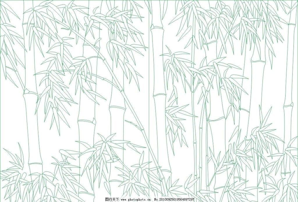 竹子 线描竹子 白描竹子 竹林 cdr 矢量图 艺术玻璃矢量线描素材 其他