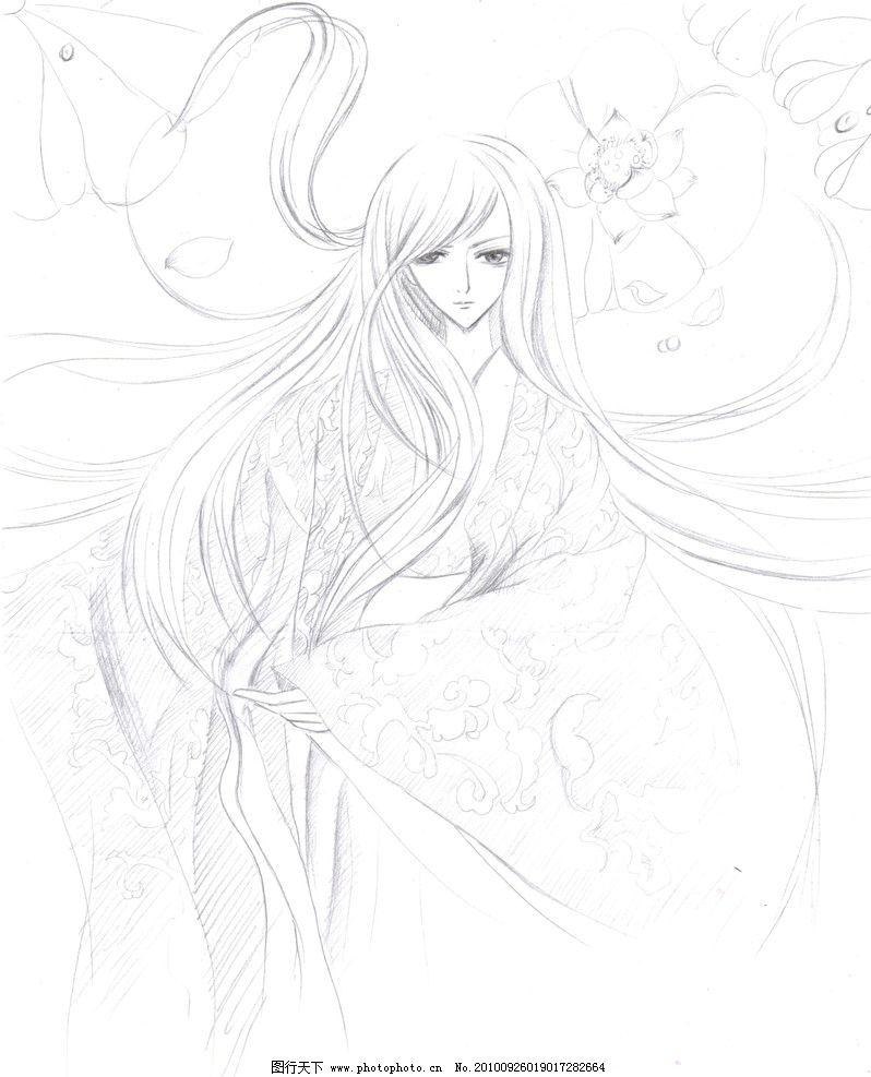 水中仙 手绘古装人物 卡通人物 卡通 长发少女 荷花池 绘画书法 文化