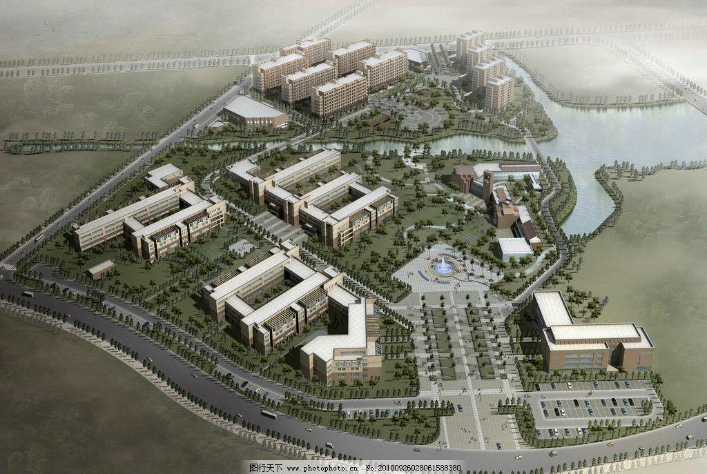 建筑三维效果图鸟瞰 鸟瞰 建筑效果图 俯视效果图 建筑设计 环境设计