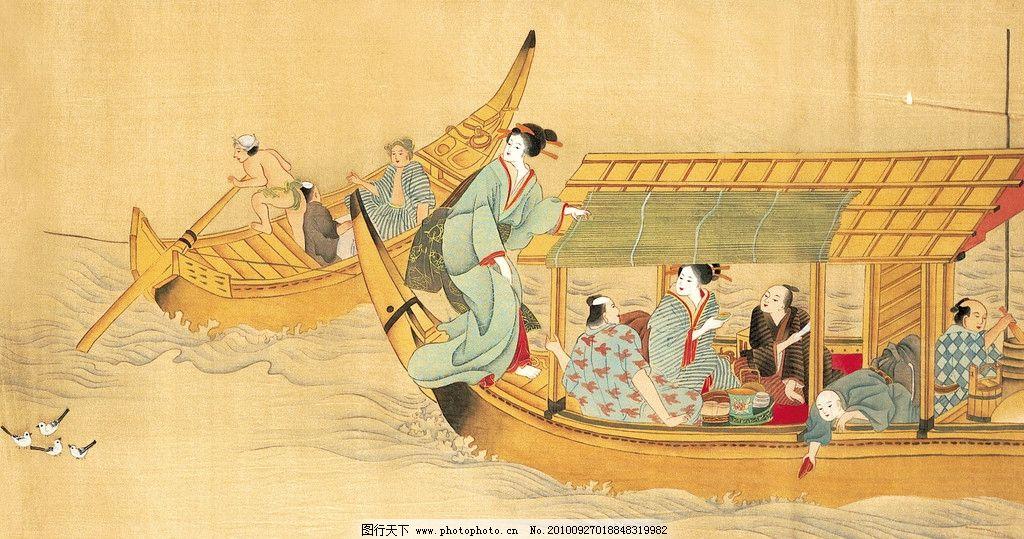 古图 龙舟 划船 手绘风格 手绘风景图 古图国画风景 古代人物 文化