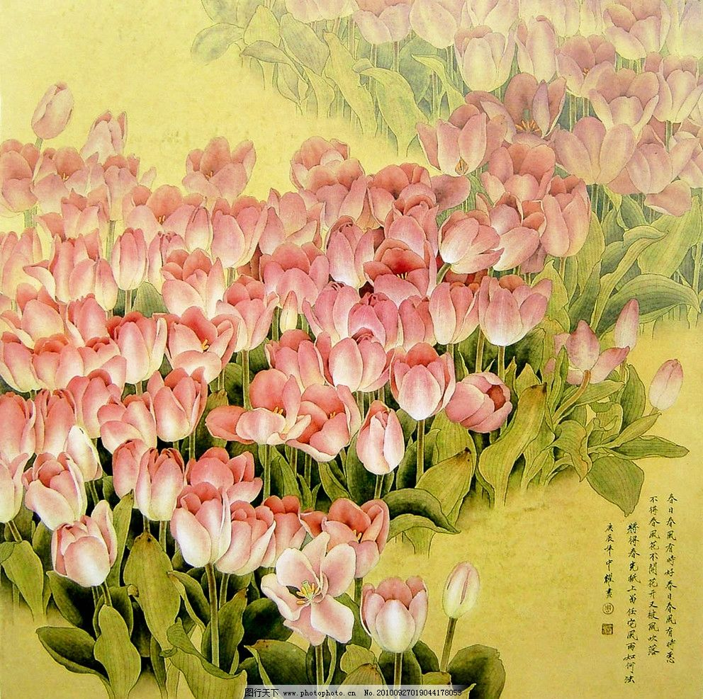郁金香 美术 绘画 中国画 工笔重彩画 彩墨画 花卉画 郁金香花