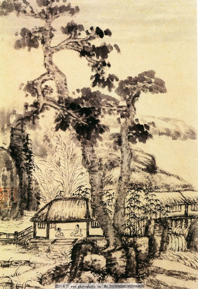 国画 国画艺术 中国风 文化画 中国画 人物 亭子 水墨画 水墨 绘画