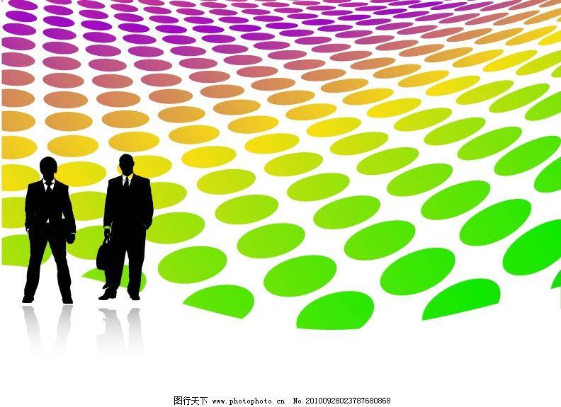 商务人士矢量素材 商务 渐变背景 商业 职业 白领 人物剪影 经理人