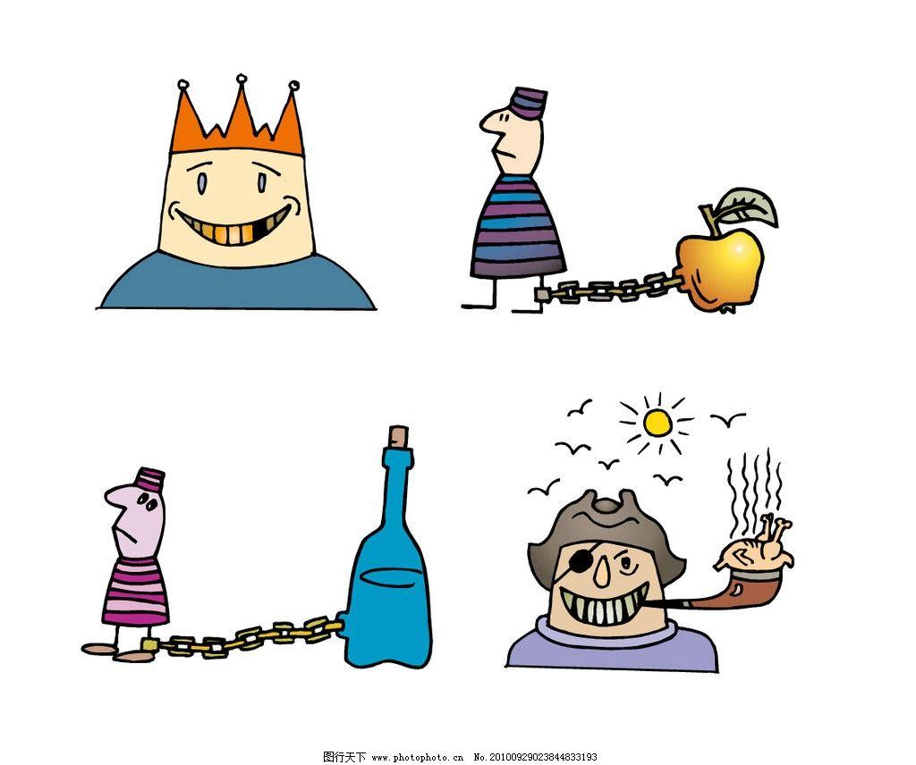 欧式卡通人物 国王 囚犯 苹果 酒瓶 海盗 云 烟雾 海盗抽烟 男人男性图片