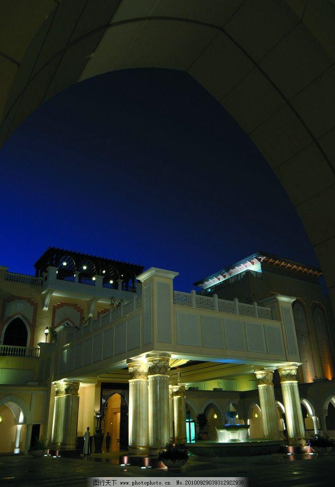 建筑夜景 建筑外观夜景 欧式 迪拜 五星级酒店 香格里拉酒店 门头