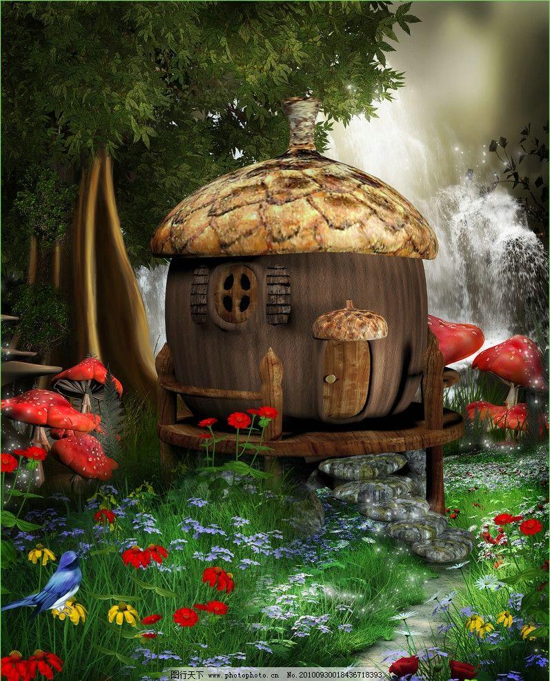 小木屋 童话背景 红花 瀑布 蘑菇图片