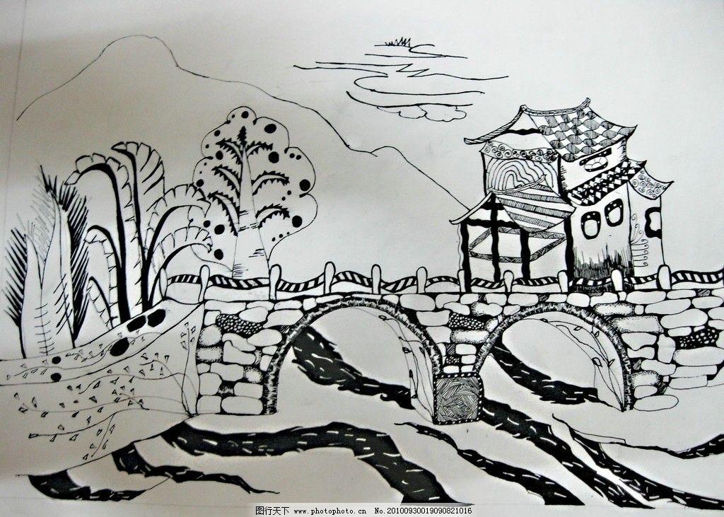 三江风景黑白装饰画图片