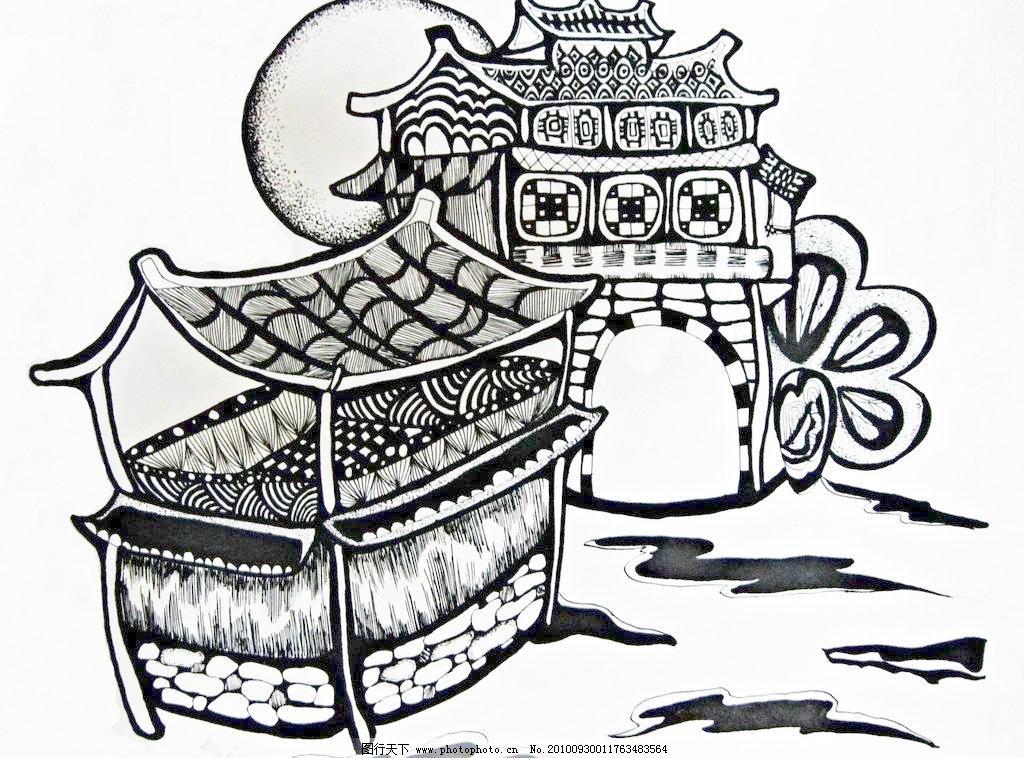三江 建筑 黑白装饰风景画图片